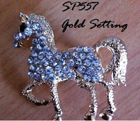 Horse Brooch covered in Clear Rhinestones Gift Box
