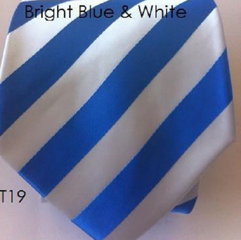 Bright Blue & White Stripe Tie