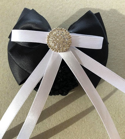 Black & White Hair Bow Snood