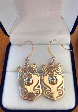 Alaskan Malamute Rose Gold Earrings