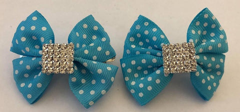 Blue & White Pokkadot Hair Clips