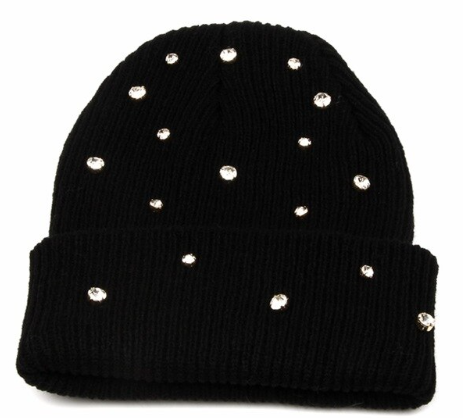 Knitted Beanie with Crystal Rhinestones