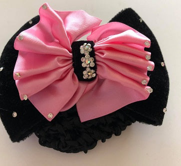 Black & Pink Hair Snood Bow