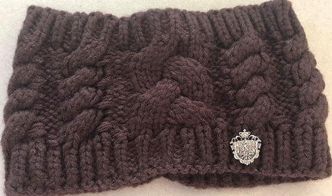 Chocolate Brown Knitted Head Warmer Band with Crest