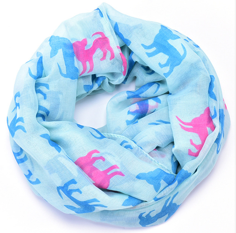 Blue & Pink Chihuahua Scarf
