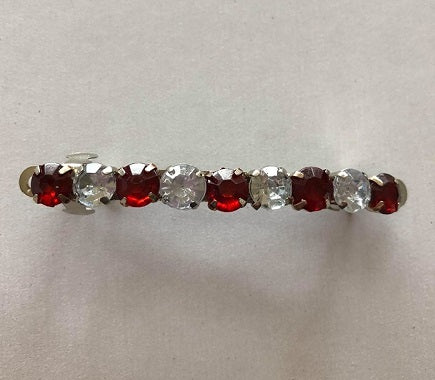 Dark Red & White  Rhinestone Barette Clip