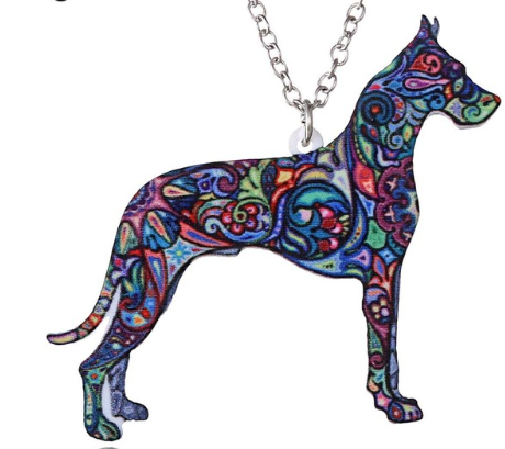 Colourful Great Dane Necklace