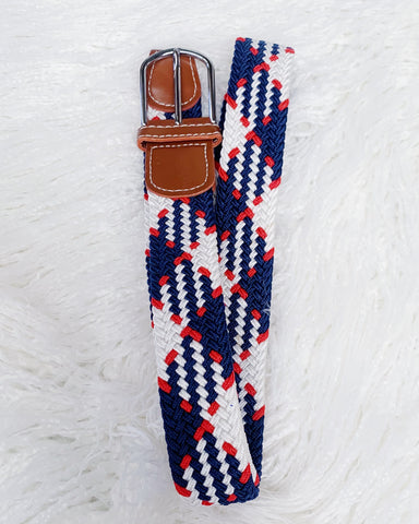 Urban Horsewear Red/White/Navy Stretch Belt