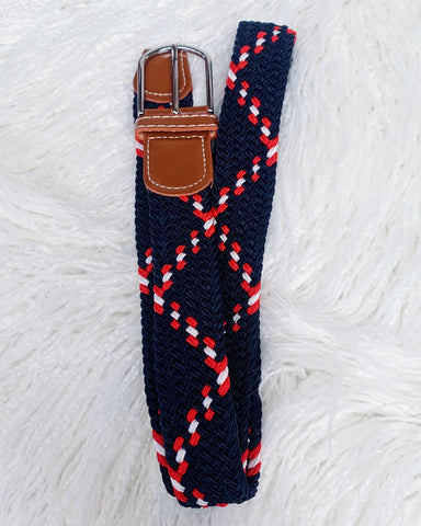 Urban Horsewear Stretch Belt Navy Blue Red & White