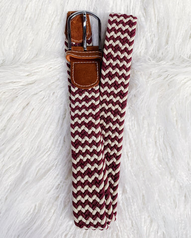 Urban Horsewear Burgundy/Cream Stretch Belt