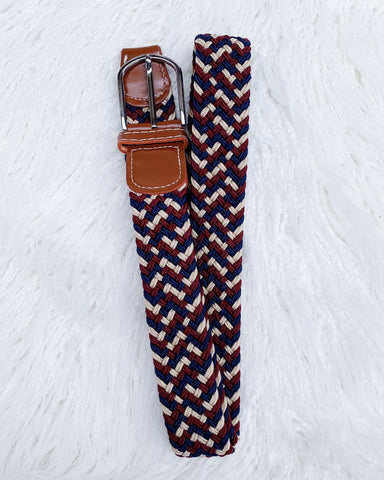 Urban Horsewear Burgundy/Beige/Navy Stretch Belt