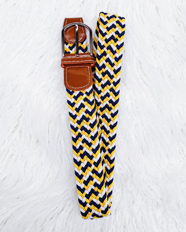 Urban Horsewear Yellow/Navy/White Stretch Belt
