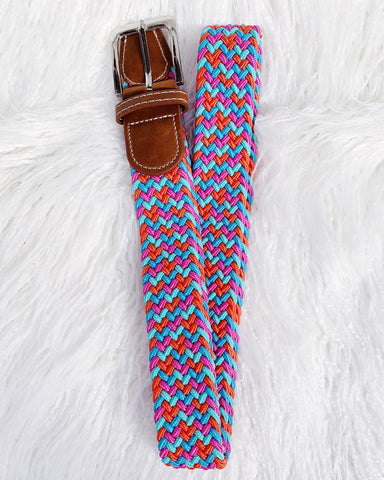 Urban Horsewear Pink/Orange/Teal/Blue Stretch Belt