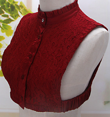 Maroon Lace Bib Shirt with Ruffle Collar
