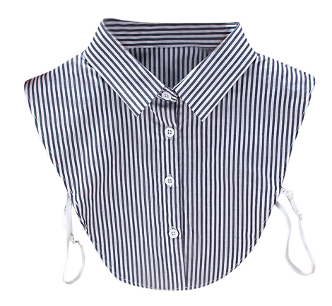 Navy Blue & Whte Stripe Collar Bib