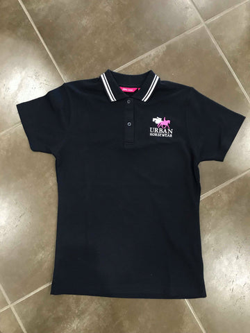 Urban Horsewear Navy Blue & White Polo