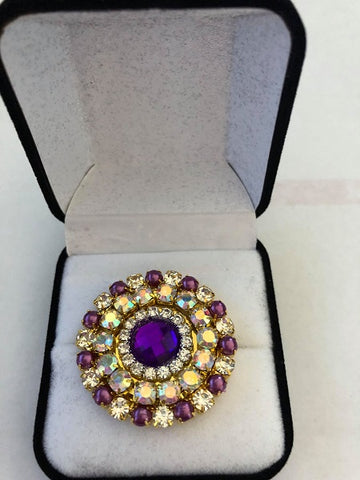 Purple Rhinestone Crystal Stock / Lapel Pin in Gift Box