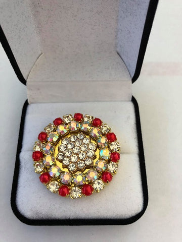Red & Clear Rhinestone Crystal Stock / Lapel Pin in Gift Box