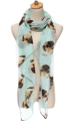 Blue Scarf covered in Pug Heads