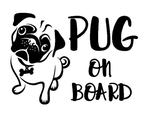 Pug on Board Vinyl Car Decal