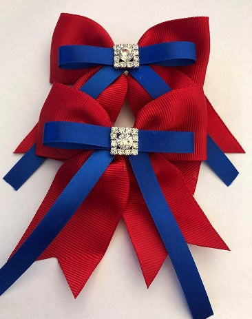 Red & Royal Blue Hair Clips