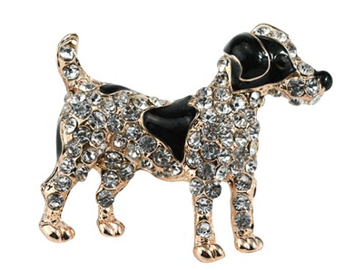 Wire Haired Fox Terrier Rhinestone Pin