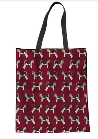Maroon Wire Haired Fox Terrier Tote Bag