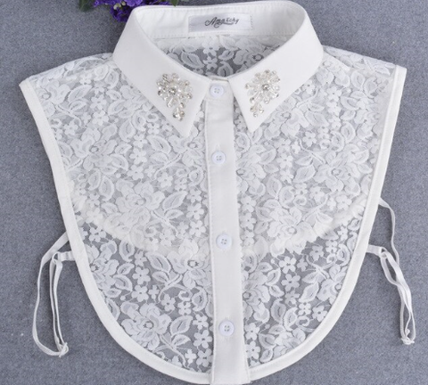 Lace Bib Shirt with Crystal  Collar