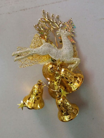 Christmas Bells -Small Golden Bells with Reindeer - Christmas Decoration Item