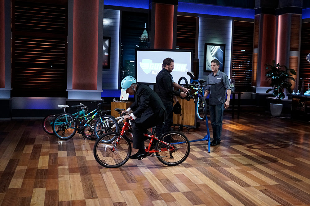 Kevin O'Leary riding a Guardian Bike on Shark Tank