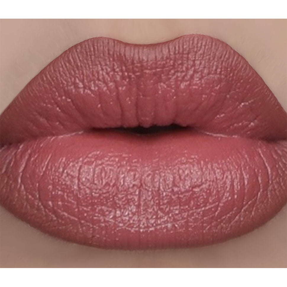 Dusty rose pink lipstick