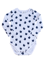 Kitty long sleeve bodysuit with snaps at crotch and neckline for easy dressing