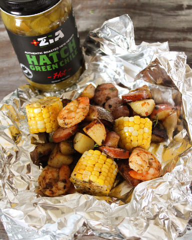 Hatch Green Chile Grilled Shrimp Boil