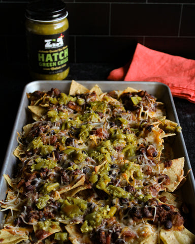 Hatch Green Chile Chili Cheese Loaded Nachos