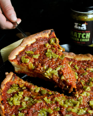 Hatch Green Chile Chicago Style Deep Dish Pizza
