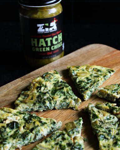 Hatch Green Chile Kale and Spinach Frittata