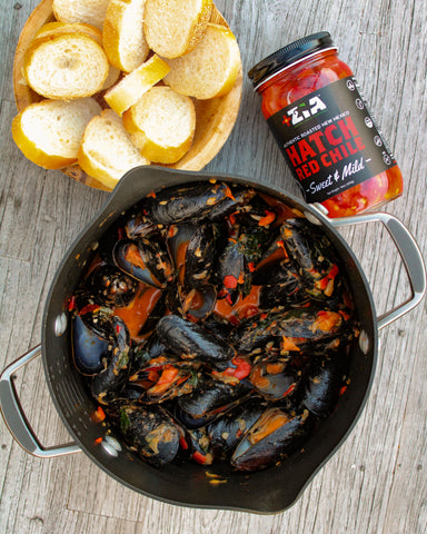 Hatch Red Chile Creamy Parmesan Mussels
