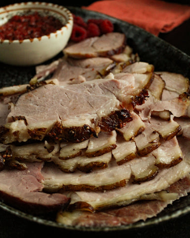 Hatch Red Chile and Raspberry Glazed Christmas Ham