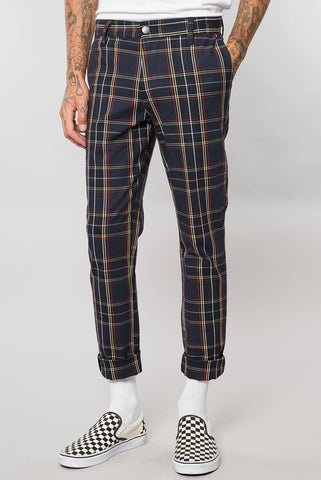 Navy Tartan Plaid Slim Tapered Pant
