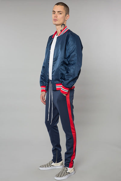Navy / Red Drop Crotch Track Pant