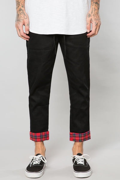 Black/Red Plaid Contrast Cuffed Pant