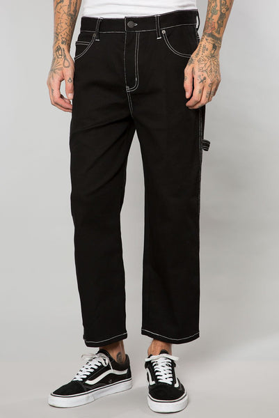 Jet Black Denim Contrast Stitch Cropped Carpenter Pant