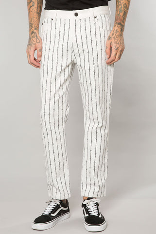 White Barbed Wire Pinstripe Denim Cropped Pant