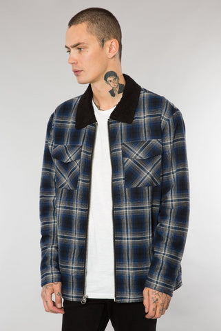 Blue Shadow Plaid Sherpa Lined Jacket