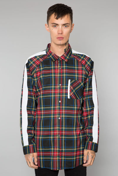 Black Tartan Plaid Button Up Track Shirt
