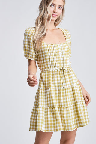 Scoop Neck Gingham Dress