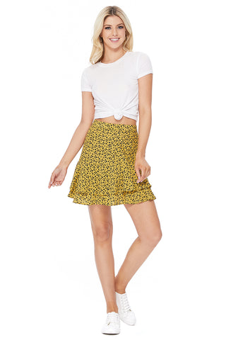 Floral Print Woven Mini Skirt - Yellow