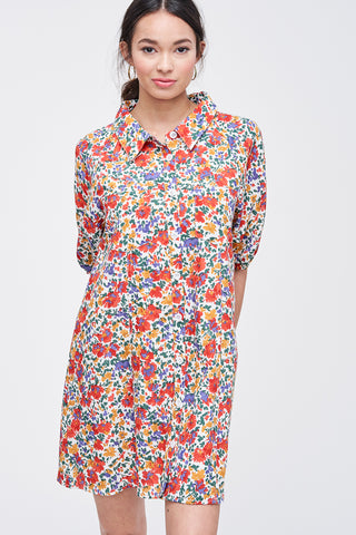 Floral Short Sleeve Button Down Dress
