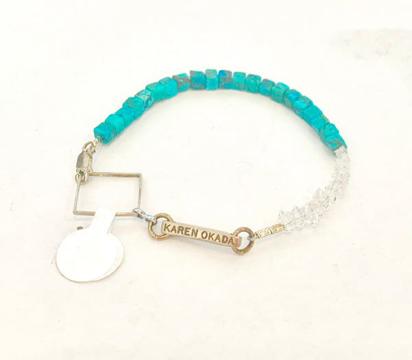 Turquoise Stone Cube and Tiny Herkimer Bracelet - Sterling Silver