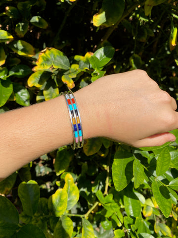 Zuni Handmade Multi Colored & Turquoise two row bracelet